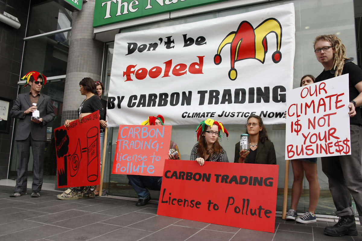 Camp for Climate Action pranks Auckland based carbon trading firm OMV financial on Fossil Fools day 2010
