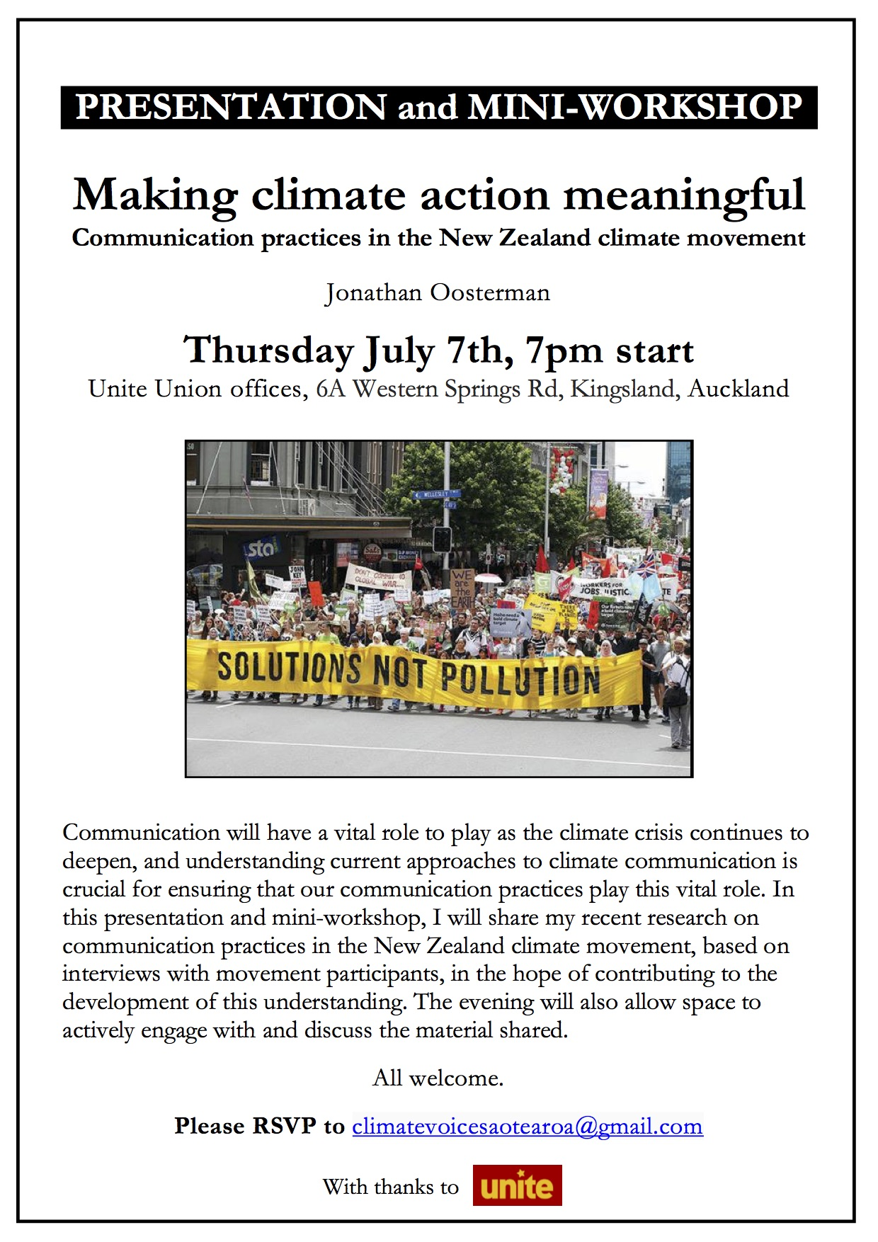 Poster - Making climate action meaningful - Auckland
